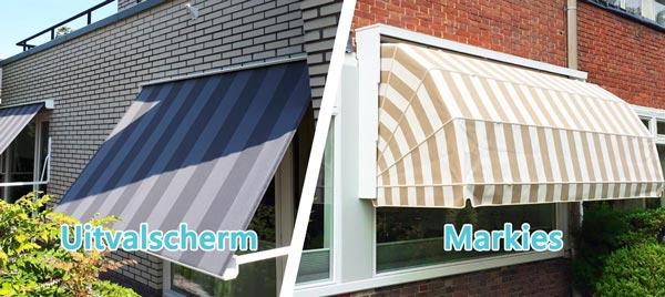 Uitvalscherm versus markies zonnescherm