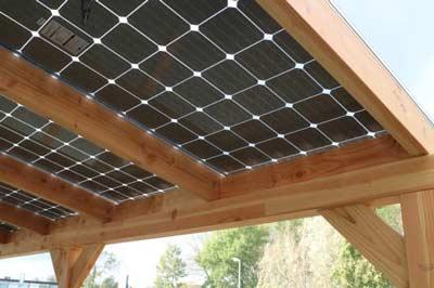 Zonnepanelen op terrasoverkapping